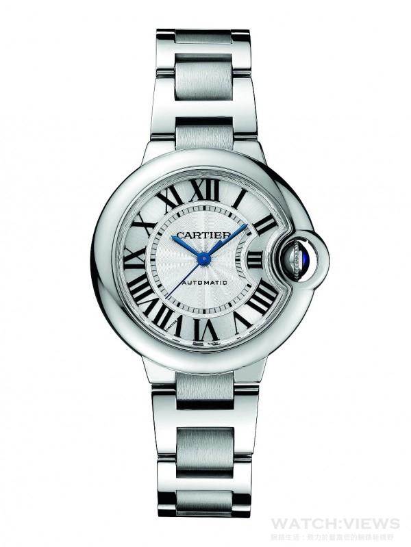 Ballon Bleu de Cartier精鋼鍊帶腕錶,精鋼錶殼搭載卡地亞自動上鍊機芯,售價185,000元。