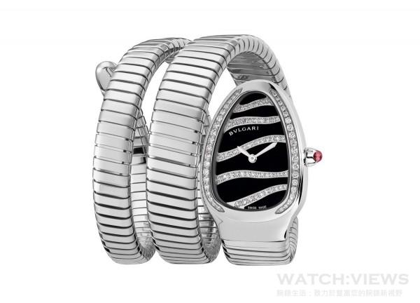 BVLGARI寶格麗Serpenti Tubogas精鋼雙圈鑲鑽腕錶,建議售價NTD407,100。