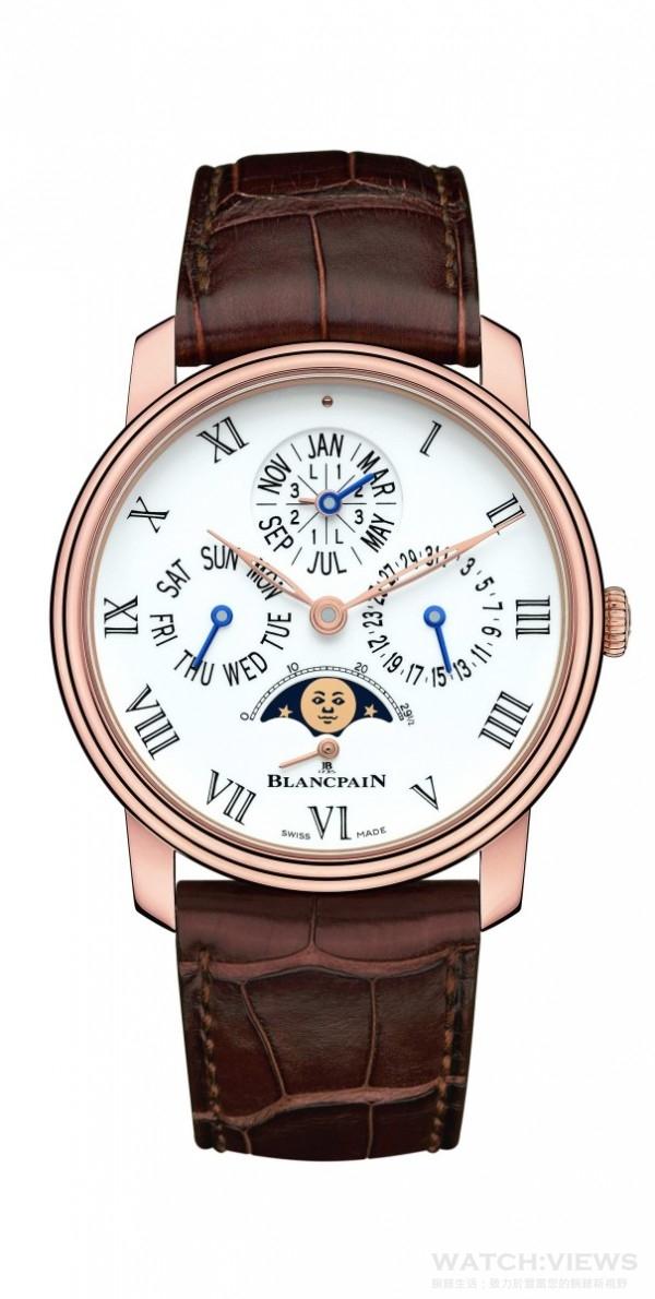Blancpain寶鉑Villeret系列8日鍊萬年曆腕錶,建議售價NTD1,874,000。