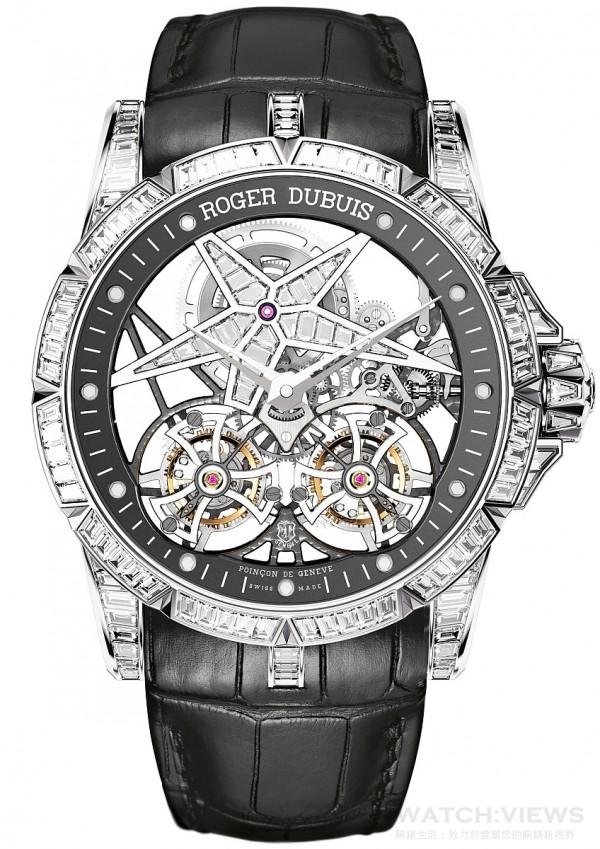 Excalibur Star of Infinity腕錶,白金錶殼,直徑45毫米,鋪鑲長方形切割鑽石,鏤空錶盤,星狀結構鑲嵌長方形切割鑽石,鑽石總共鑲嵌312顆長方形切割鑽石,其中34顆鑲於星狀結構上,246顆鑲於錶殼上,32顆鑲於錶扣上;克拉數總重約14.93克拉,其中0.96克拉鑲於星狀結構上,12.64克拉鑲於錶殼上,1.33克拉鑲於錶扣上,防水30米,黑色純正鱷魚皮錶帶,白金可調節折疊式錶扣,鑲嵌長方形切割鑽石,RD01SQ手動上鏈機芯,日內瓦印記,限量8只,建議售價NTD25,255,000。