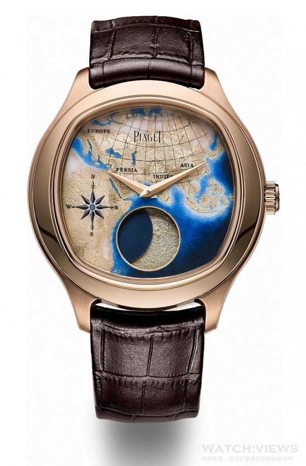 PIAGET EMPERADOR COUSSIN XL,大型月相琺瑯腕錶,46.5毫米,18K 玫瑰金錶殼,藍寶石水晶透明底蓋內印有Mythical Journey標誌,手工雕刻玫瑰金錶盤,以雕刻琺瑯(champlevé enamel)及微縮琺瑯(miniature enamel)工藝描繪Mythical Journey之路,搭載伯爵860P自動上鏈機械月相顯示機芯,時、分指示,大型月相顯示 (12毫米)位於6時位置,動力儲存約72小時,振頻每小時21,600次,棕色鱷魚皮錶帶,搭載玫瑰金折疊式錶扣,限量8枚,鐫刻獨立編號,型號G0A40560。