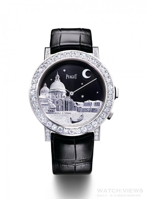 PIAGET ALTIPLANO DOUBLE JEU金質雕刻腕錶,一枚腕錶,雙重錶殼,43毫米,18K白金錶殼,鑲嵌52顆圓形美鑽 (約重3.20克拉),上層錶殼手工精雕白金威尼斯景色;下層錶殼底蓋內印有Mythical Journey標誌,黑色錶盤,伯爵製830P超薄手動上鍊機械機芯,時、分指示,動力儲存 約60小時,振頻每小時21,600次,黑色鱷魚皮錶帶,搭載白金折疊式錶扣,限量8枚,鐫刻獨立編號,型號G0A40564。