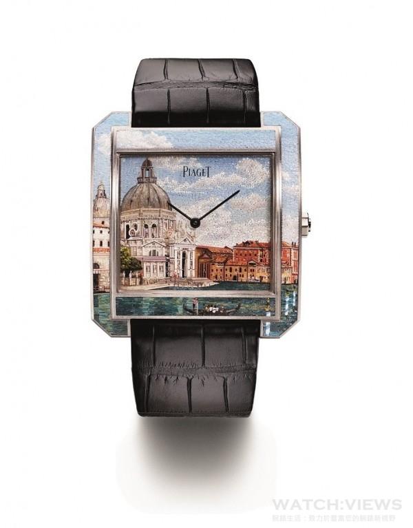 PIAGET PROTOCOLE XXL 微砌馬賽克腕錶,18K 白金微砌馬賽克錶殼,藍寶石水晶透明底蓋內印有Mythical Journey標誌,白金微砌馬賽克威尼斯景色設計的錶盤,伯爵製830P超薄手動上鍊機芯,時、分指示,動力儲存約60小時,振頻每小時21,600次,黑色鱷魚皮錶帶,搭載白金折疊式錶扣,限量3枚,鐫刻獨立編號,型號G0A40570。
