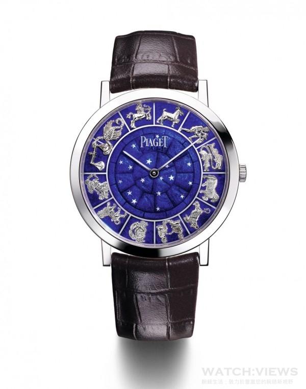 PIAGET ALTIPLANO琺瑯腕錶,40毫米,18K白金錶殼,藍寶石水晶透明底蓋內印有Mythical Journey標誌,白金錶盤鑲飾雕刻琺瑯(champlevé enamel) 及金質貼花,靈感來自於聖馬可廣場上的著名鐘樓,伯爵製830P超薄手動上鏈機械機芯,時、分指示,動力儲存 約60小時,振頻每小時21,600次,灰色鱷魚皮錶帶,搭載白金針扣式錶扣,限量8枚,鐫刻獨立編號,型號G0A40599。