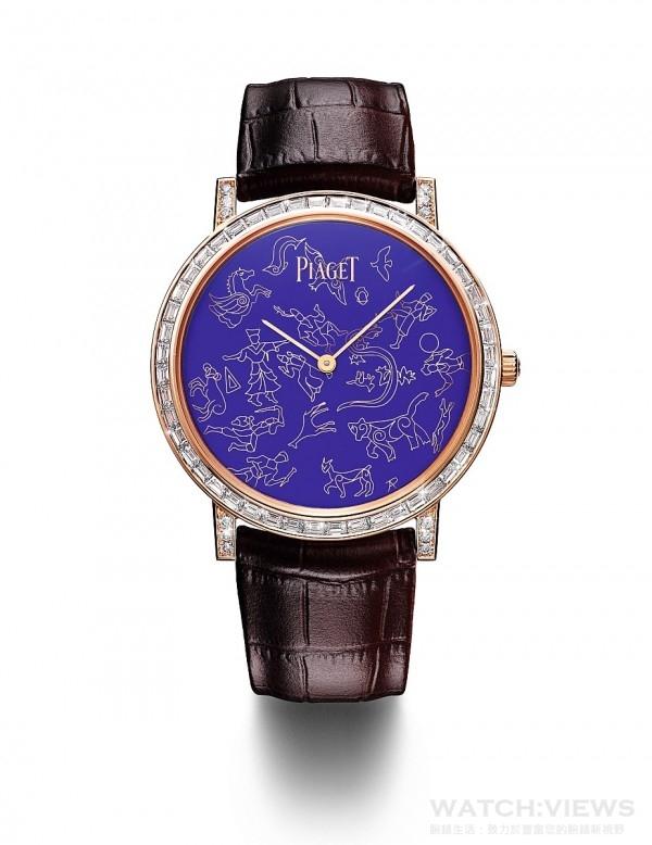 PIAGET ALTIPLANO 掐絲琺瑯腕錶,41毫米,18K 玫瑰金錶殼,鑲嵌313顆圓形美鑽 (約重1.75克拉)及48顆長方形切割鑽石(約重2.51克拉),錶冠鑲嵌單顆圓形美鑽 (約重0.06克拉),掐絲琺瑯(cloisonné enamel)金質錶盤描繪星座圖像,藍寶石水晶透明底蓋內印有Mythical Journey標誌,伯爵製1200P超薄自動上鍊機械機芯,時、分指示,鉑金擺陀,動力儲存 約44小時,振頻每小時21,600次,棕色鱷魚皮錶帶,搭載玫瑰金折疊式錶扣,鑲嵌24顆鑽石(約重0.06克拉),限量3枚,鐫刻獨立編號,型號G0A40605。