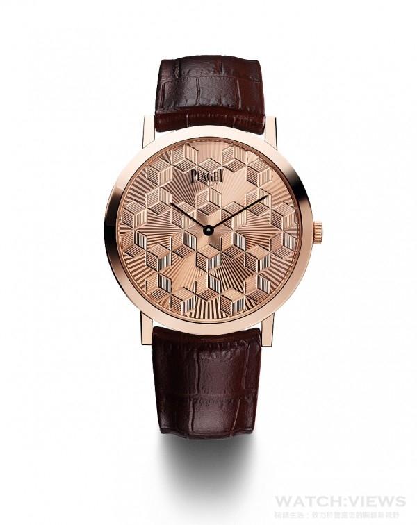 PIAGET ALTIPLANO GUILLOCHÉ金質錶盤腕錶,40毫米,18K玫瑰金錶殼,藍寶石水晶透明底蓋內印有Mythical Journey標誌,Guilloché金質錶盤,靈感來自於撒馬爾罕建築物,伯爵製830P超薄手動上鍊機芯,時、分指示,動力儲存 約60小時,振頻每小時21,600次,棕色鱷魚皮錶帶,搭載玫瑰金針扣式錶扣,限量38枚,鐫刻獨立編號,型號G0A40613。