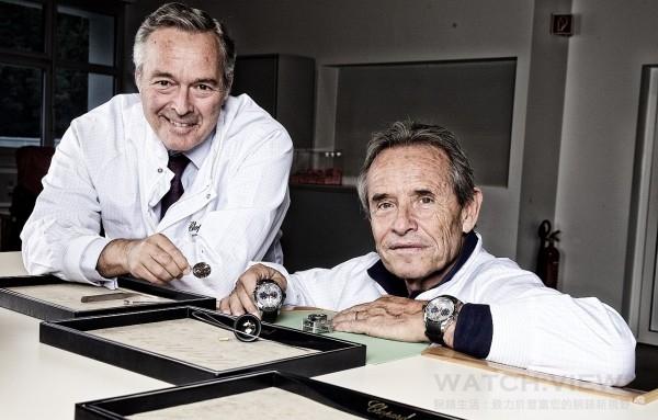 傑克‧埃克斯造訪蕭邦Fleurier錶廠,與蕭邦總裁Karl-Friedrich Scheufele先生(左)合影