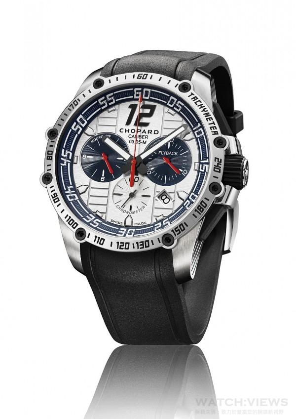 Superfast Chrono Porsche 919傑克‧埃克斯特別版腕錶,精鋼錶殼,精鋼旋入式錶冠,飾有黑色橡膠鑄模轉輪,精鋼錶圈,測速計以8枚精鋼黑色PVD處理螺絲固定,防眩光藍寶石水晶錶鏡 ,底蓋鐫刻「Official Timing Partner Porsche Motorsport」和「Jacky Ickx Limited edition」字樣,自動上鏈計時機芯,動力儲存60個小時,COSC天文台認證,銀調乳白色錶盤,配備啞光藍色內緣,白色和銀色移印元件,黑色金屬質感時針、分針和時標,覆以Superluminova超級夜光物料,中央時、分、秒顯示,小秒針位於6時位置,日期顯示窗位於4時30分位置,計時碼錶 — 飛返秒針功能(Flyback),30分鐘計時盤位於3時位置,12小時計時盤位於9時位置 ,測速計,搭配黑色橡膠錶帶(光頭輪胎立體花紋),拋光精鋼折疊錶扣,型號168535-3003,限量發行100枚,售價: NTD 425,000。