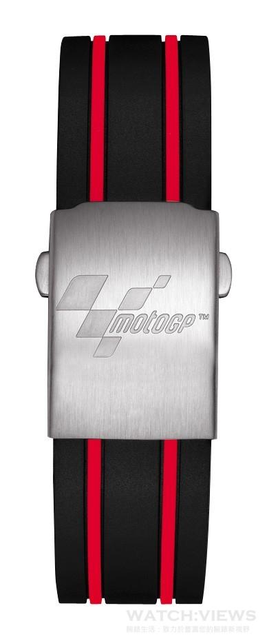 天梭競速系列MotoGP 2015限量版搭配低調內斂的紅黑色錶帶,展現十足運動氣息。
