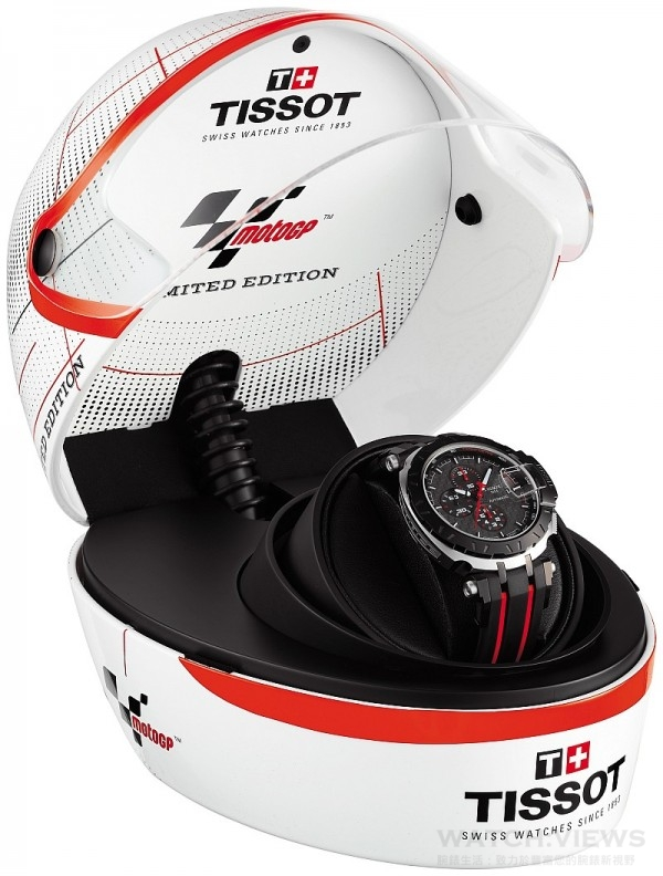 天梭競速系列MotoGP 2015限量版特別放置於特製的運動安全帽型錶盒,更顯酷炫並極具收藏價值。