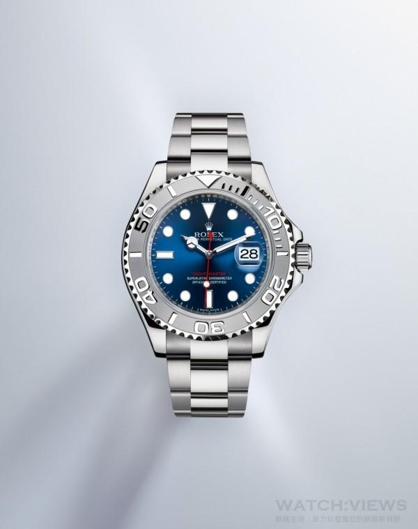 Yacht-Master型號116622,鉑金鋼(904不鏽鋼與鉑金組合)錶殼,錶徑40毫米,中央時、分及秒針;瞬跳日曆,快速更正;秒針暫停性能可準確調校時間,3135型自動上鍊機芯,官方鑒定認可時計(COSC),順磁性藍色Parachrom游絲,抗刮損藍水晶玻璃,防水100米,防反光凸透式放大日曆窗,904L不銹鋼鏈帶,蠔式保險摺扣配5 mm易調鏈節伸展系統。