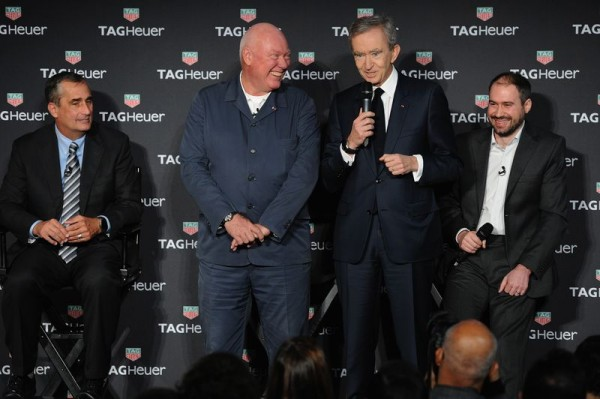 NEW YORK, NY - NOVEMBER 09: Brian Krzanich, Jean-Claude Biver, Bernard Arnault and David Singleton attend the TAG Heuer Connected Watch event on November 9, 2015 in New York City. (Photo by Craig Barritt/Getty Images for Tag Heuer)