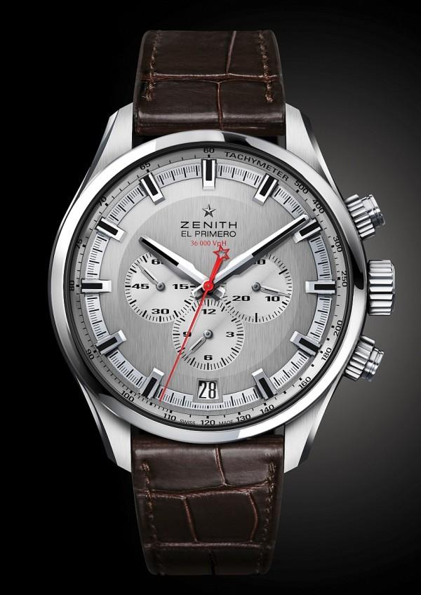 El Primero Sport腕錶,不鏽鋼錶殼,錶徑45毫米,銀色人手紋飾處理,中置時、分顯示、小秒針位於9時位置、日曆顯示位於6時位置、計時碼錶精準度達十分之一秒、測速刻度,防水200米,藍寶石水晶玻璃鏡面及錶背,深棕色鱷魚皮錶帶。