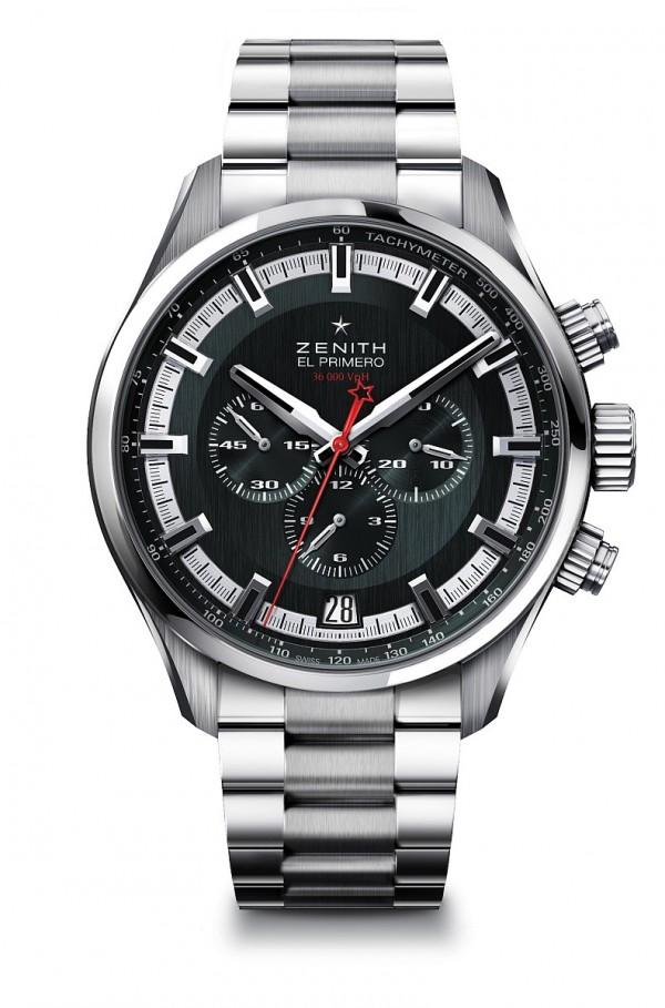 El Primero Sport腕錶,不鏽鋼錶殼,錶徑45毫米,深灰色人手紋飾處理,中置時、分顯示、小秒針位於9時位置、日曆顯示位於6時位置、計時碼錶精準度達十分之一秒、測速刻度,防水200米,藍寶石水晶玻璃鏡面及錶背,金屬鏈帶。