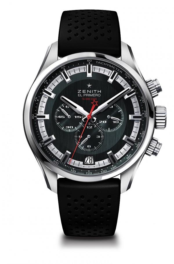 El Primero Sport腕錶,不鏽鋼錶殼,錶徑45毫米,深灰色人手紋飾處理,中置時、分顯示、小秒針位於9時位置、日曆顯示位於6時位置、計時碼錶精準度達十分之一秒、測速刻度,防水200米,藍寶石水晶玻璃鏡面及錶背,橡膠錶帶。