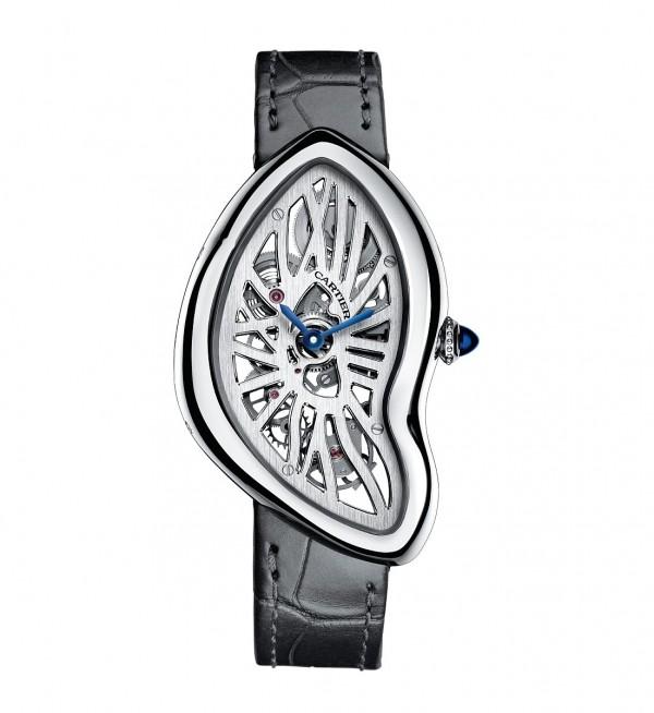 Crash鏤空腕錶,950 鉑金錶殼,錶徑28.15x45.32毫米,時、分指示,9618MC 手上鍊機芯,羅馬數字型鏤空錶橋,動力儲能3 日,藍寶石水晶錶背,防水30 米,鱷魚皮錶帶。
