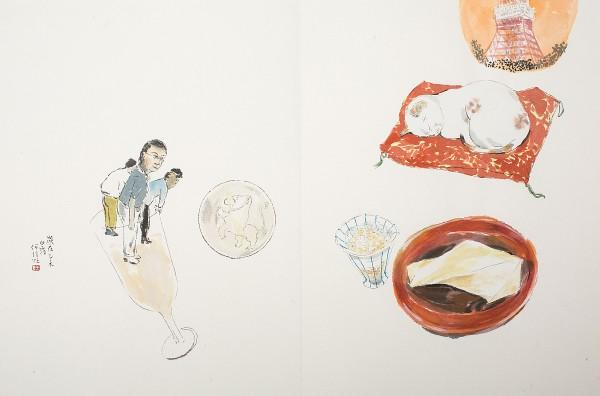 何信旺走訪了京都、奈良以及東京的SEIKO博物館,以隨興的插畫手法記錄下旅程中的所見所聞。圖中為「彎腰鞠躬有禮貌的人們」