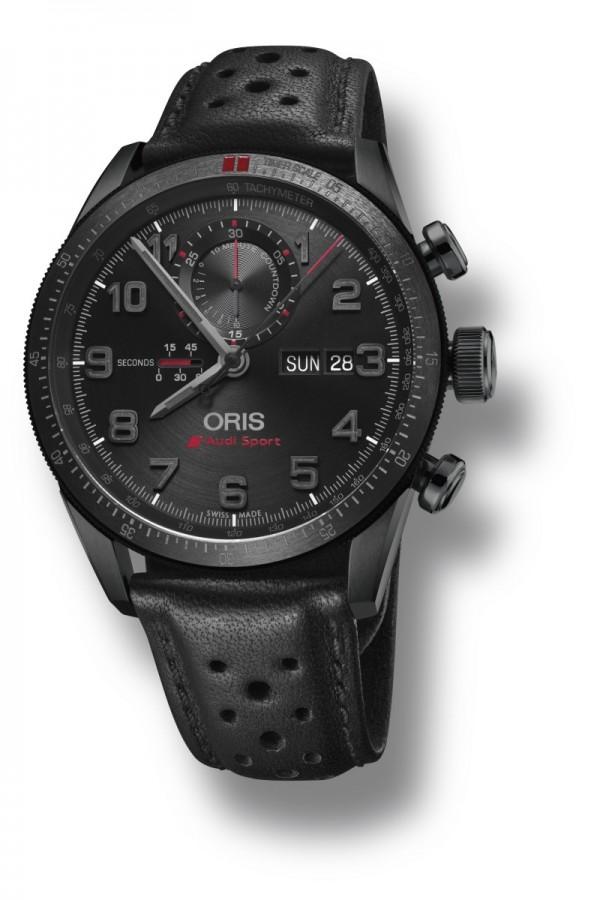 Oris Audi Sport II限量錶,型號778 7661 7784 LS,多片式鈦合金錶殼,錶徑44mm,全球限量2000只,Oris自動上鍊機芯778,具有計時碼錶功能及3點鐘方向的日曆星期視窗,旋入式不鏽鋼錶冠與按鈕,黑DLC塗層,防水功能10 bar / 100米,獨特鐫刻和限量編號鈦金屬錶背,黑色DLC塗層,兩片式霧面黑色錶盤,測速計時刻度圈直接組裝至錶殼內,數字刻度含黑色Super-LumiNova夜光塗層; 黑色拋光鎳質時針和分針內嵌螢光塗層,紅色中央秒針和計時碼錶指針,Oris開發的特殊線性小秒針盤位於9點鐘位置,黑色皮革錶帶搭配黑色DLC塗層鈦金屬摺疊錶扣,建議售價NT$122,000。