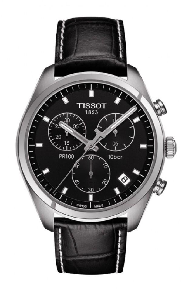 天梭PR100系列計時碼錶,瑞士製ETA.G10.211石英機芯,精鋼錶殼搭配皮格錶帶,藍寶石水晶鏡面,防水深度達100米,錶徑41 mm,建議售價 NT$11,300。