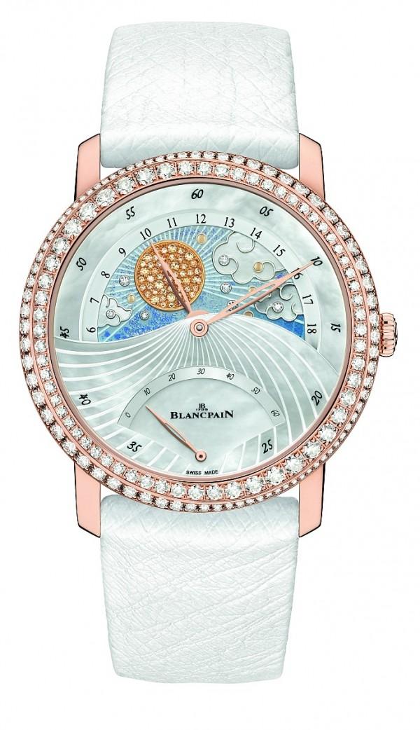 Women Jour Nuit日夜顯示雙逆跳女錶,18K玫瑰金錶殼,錶徑40毫米,分針、逆跳時針、逆跳秒針、日夜顯示盤(早上六點或下午六點前會各進行一次旋轉),1163J自動上鍊機芯,藍寶石水晶透明後底蓋,防水30米,鑲鑽及寶石共2.257克拉,建議售價NTD1,636,000。