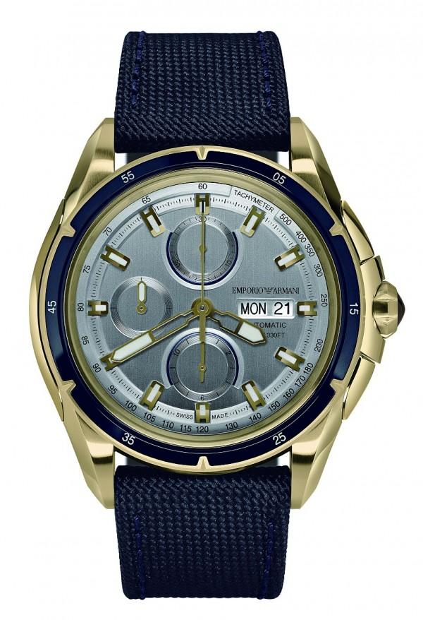 Emporio Armani Swiss Made Sport系列計時碼錶,亮面霧面拋光淡金色不鏽鋼錶殼、不鏽鋼與鋁錶圈,錶徑45毫米,時、分、小秒針、計時碼錶、日期顯示、星期顯示、測速儀,Valjoux 7750自動上鍊機芯,帆布錶帶,防水100米。