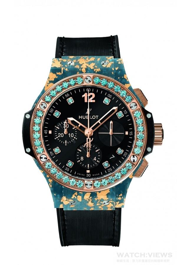 Big Bang黃金亞麻纖維腕錶,直徑41毫米,天然亞麻纖維融合黃金錶殼,18K黃金抛光處裡,錶圈鑲6顆H型鈦金屬螺絲與36顆托帕石,內外防反光塗層藍寶石水晶鏡面,黑色合成樹脂錶耳、錶側,黑色天然橡膠錶冠,防水10 ATM,HUB4300 自動上鏈機械機芯,動力儲存42小時,同色系鱷魚皮襯橡膠錶帶,霧面黑色縫線,玫瑰金與黑色 PVD 精鋼摺疊式錶扣,建議售價NTD 826,000。