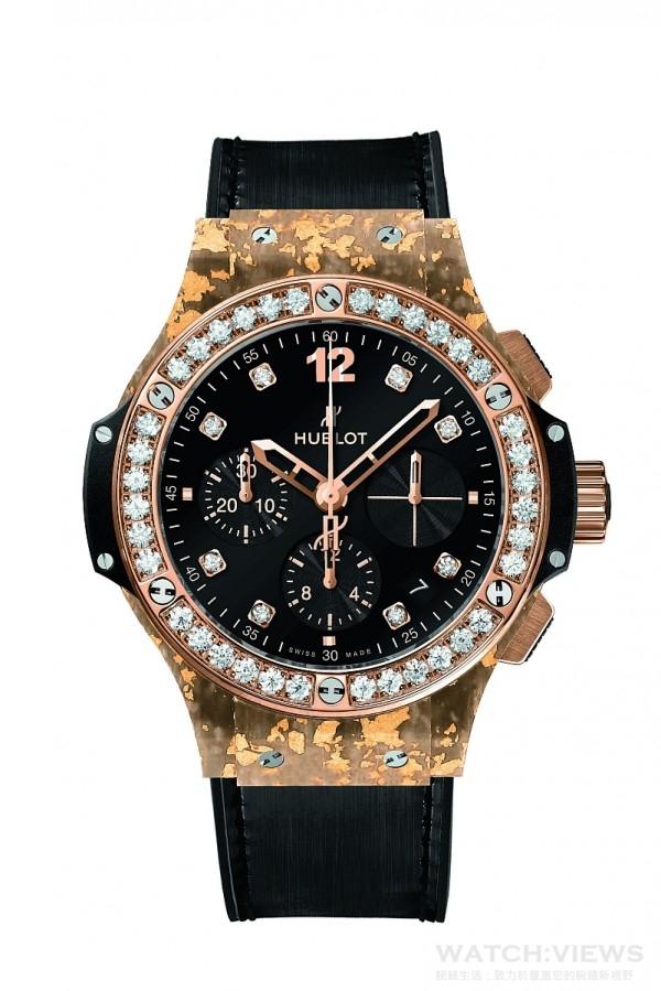 Big Bang黃金亞麻纖維腕錶,直徑41毫米,天然亞麻纖維融合黃金錶殼,18K黃金抛光處裡,錶圈鑲6顆H型鈦金屬螺絲與36顆1.8克拉鑽石(纯金),36顆托帕石(藍金),36顆碧璽(綠金),36顆尖晶石(粉金),內外防反光塗層藍寶石水晶鏡面,黑色合成樹脂錶耳、錶側,黑色天然橡膠錶冠,防水10 ATM,HUB4300 自動上鏈機械機芯,動力儲存42小時,同色系鱷魚皮襯橡膠錶帶,霧面黑色縫線,玫瑰金與黑色 PVD 精鋼摺疊式錶扣,建議售價NTD 886,000。