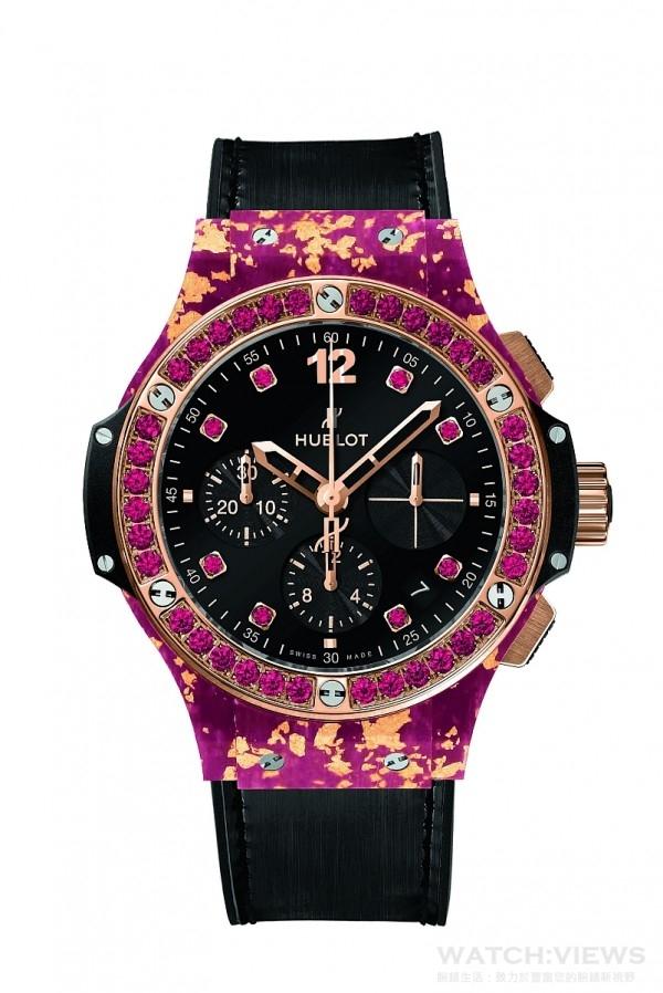 Big Bang黃金亞麻纖維腕錶,直徑41毫米,天然亞麻纖維融合黃金錶殼,18K黃金抛光處裡,錶圈鑲6顆H型鈦金屬螺絲與36顆尖晶石,內外防反光塗層藍寶石水晶鏡面,黑色合成樹脂錶耳、錶側,黑色天然橡膠錶冠,防水10 ATM,HUB4300 自動上鏈機械機芯,動力儲存42小時,同色系鱷魚皮襯橡膠錶帶,霧面黑色縫線,玫瑰金與黑色 PVD 精鋼摺疊式錶扣,建議售價NTD 826,000。