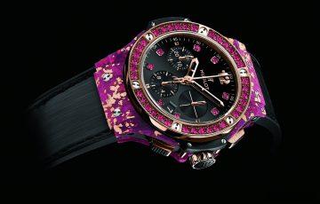 HUBLOT Big Bang黃金亞麻纖維腕錶,世界首創100%天然亞麻材質打造