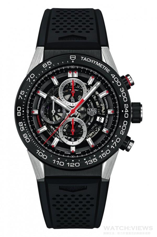 TAG Heuer 泰格豪雅Carrera Calibre Heuer 01 自動計時腕錶,錶徑45mm,定價NTD 171,000。