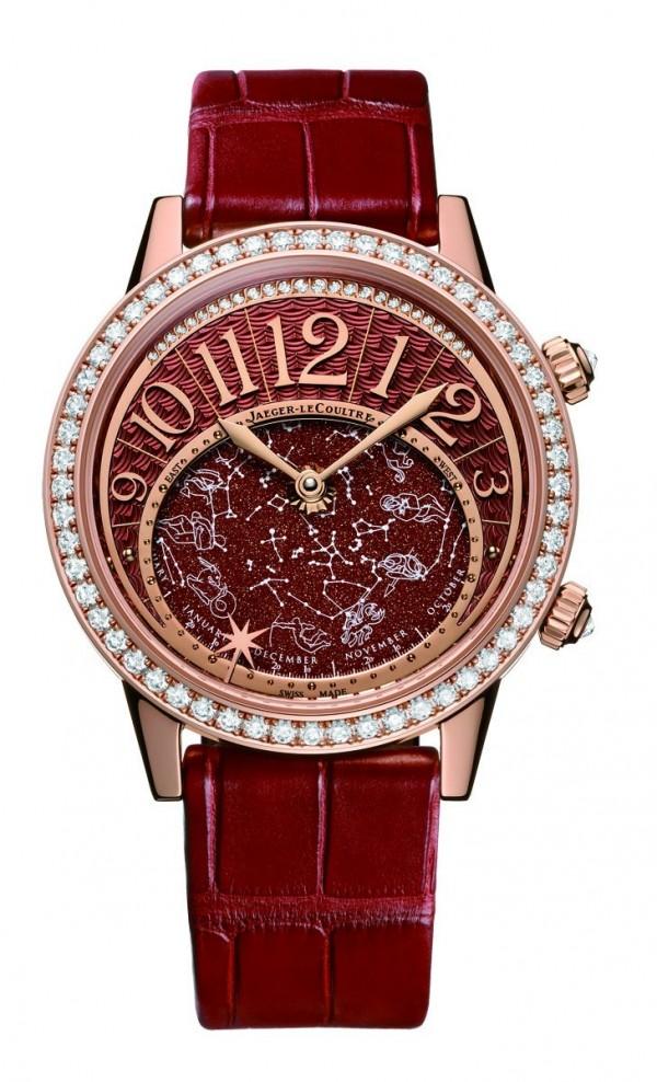 Rendez-Vous Celestial星空腕錶,18K 玫瑰金錶殼,錶徑37.5 毫米,時、分、天象圖,天穹轉盤帶黃道十二宮日曆、個人約會星形指標,Cal.809/1 自動上鍊機芯,錶殼與錶冠鑲嵌139 枚圓鑽、總重1.94 克拉,藍寶石水晶鏡面及底蓋,防水50 米,鱷魚皮錶帶。