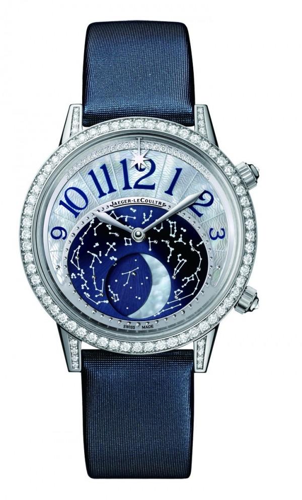 Rendez-Vous Moon約會系列月相腕錶,18K 白金錶殼鑲鑽,錶徑36 或39 毫米,時、分指示、月相顯示、約會時間指示,積家935 型自動上鍊機芯,儲能40 小時,藍寶石水晶鏡面,珍珠母貝月相顯示盤,絲緞錶帶,防水50 米。