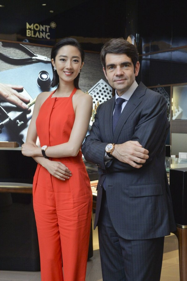 萬寶龍大中華區品牌大使 桂綸鎂與萬寶龍全球總裁朗博杰先生Jérôme Lambert 合影。