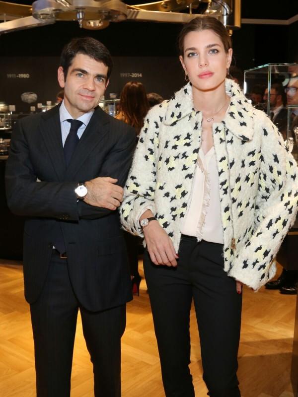 萬寶龍全球執行長傑羅姆‧蘭伯特(Jérôme Lambert)與新任全球品牌大使-夏洛特•卡西拉奇(Charlotte Casiraghi)合影。