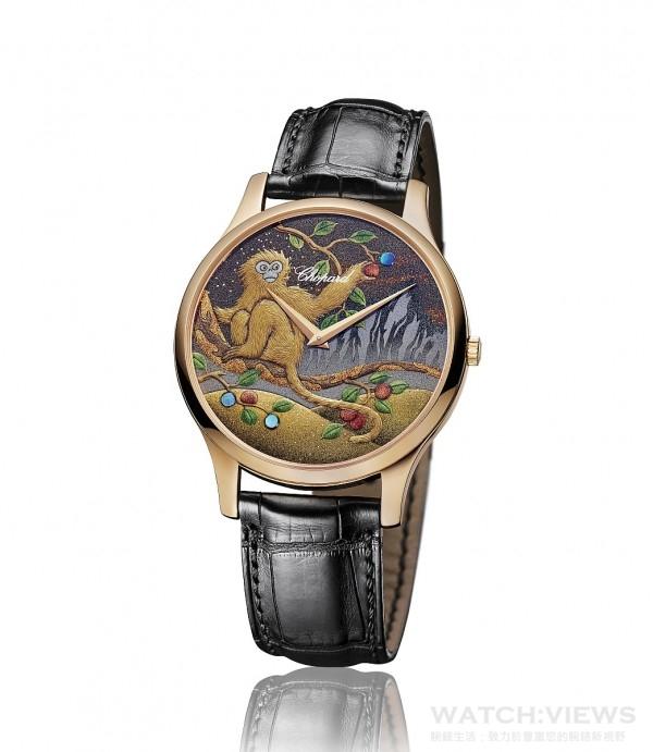 蕭邦L.U.C. XP Urushi Year of the Monkey「猴年」蒔繪腕錶,18K玫瑰金錶殼,錶徑39.5毫米,18K玫瑰金錶冠,鐫刻L.U.C標誌,自動上鏈L.U.C 96.17-L機械機芯,動力儲存 65小時,採用Twin®技術的雙發條盒,錶橋飾有日內瓦波紋(Côtes de Genève),錶盤採用蒔繪工藝並飾有猴子圖案,鍍金太子妃時針及分針,中央時、分顯示,搭配黑色鱷魚皮表帶,Alsavel手工縫製襯裡,18K玫瑰金針扣,型號: 161902-5061,建議售價NTD 776,000。