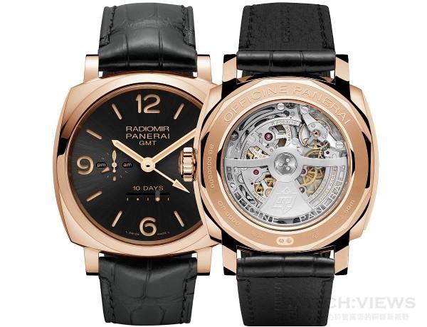 Radiomir 1940 10日鍊GMT腕錶 PAM00625,18K玫瑰金錶殼,錶徑45毫米,時、分、小秒針指示、日期顯示、動力儲存指示、日夜顯示、兩地時間,P.2003/10自動上鍊機芯,動力儲能240小時,藍寶石水晶鏡面與底蓋,防水50米。限量150只,建議售價。
