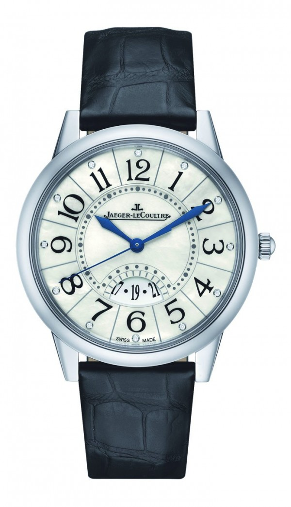 Rendez-Vous Date約會系列日曆腕錶,不鏽鋼錶殼,錶徑37.5 毫米,珍珠母貝面盤,鑲鑽時標,時、分、秒、日期,積家899 型自動上鍊機芯,儲能38 小時,藍寶石水晶鏡面,防水50 米,鱷魚皮錶帶附摺疊扣。