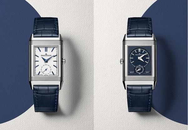 積家Reverso Tribute Duo雙時區翻轉系列腕錶(正面與背面),型號Q3908420,價格未定。