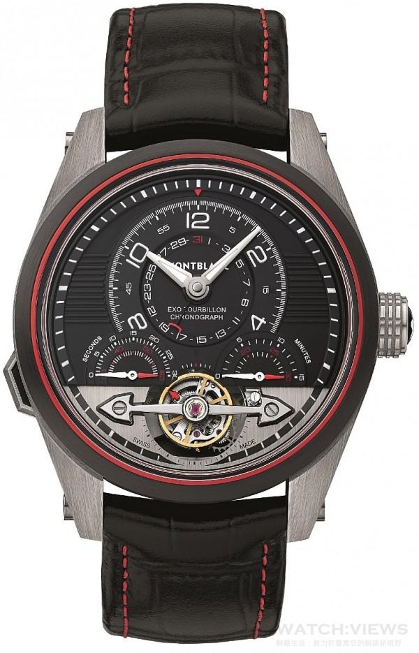 萬寶龍Timewalker系列分鐘外置陀飛輪計時腕錶,鈦金與碳纖維混合材質錶殼,錶圈塗覆黑色類鑽碳(DLC)塗層,錶殼中間之鈦金屬外覆碳纖維防護層,萬寶龍自製自動上鍊機械計時機芯MB R230,偏心時針與分針、與時針和分針同軸之指針式日期顯示、偏心小錶盤、6點鐘位置的專利外置陀飛輪(每分鐘轉一圈,可顯示秒鐘),配備精鋼陀飛輪錶橋、60秒鐘與30分鐘與計時顯示盤,雙顯示指針及相對應之扇形刻度專利一分鐘外置陀飛輪,具停秒裝置,單按把設計計時碼錶,配備導柱輪與垂直離合裝置,黑色鱷魚皮錶帶搭配紅色縫線,緞紋面鈦金屬針扣,限量100只,每只皆經過萬寶龍實驗室500小時測試合格,建議售價約NT$ 1,402,250。