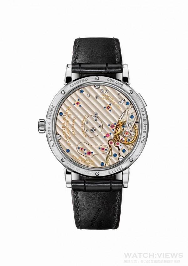 """Grand Lange 1 Moon Phase """"Lumen""""腕錶,950鉑金錶殼,錶徑41毫米,時、分、小秒針、大日期視窗、月相顯示,L095.4型手上鏈機芯,72小時動力儲存,限量200枚。"""