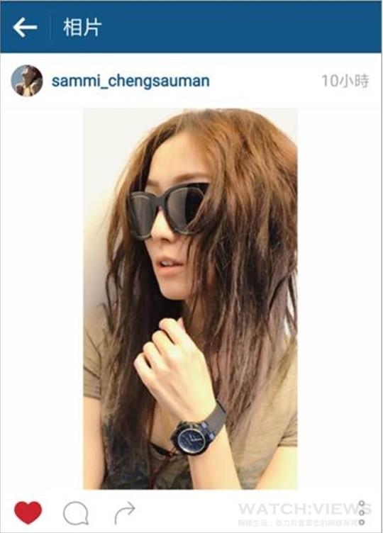 鄭秀文發佈配戴BVLGARI Diagono Magnesium自動腕錶的照片於Instagram,展現出色的時尚品味