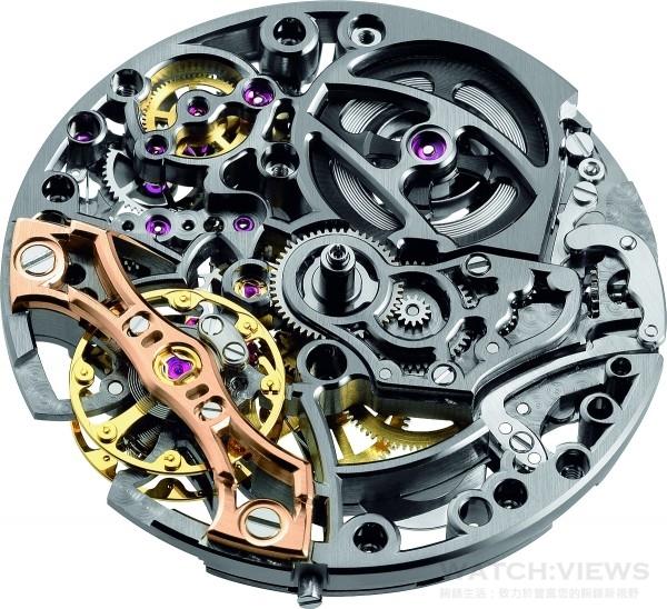 愛彼的鏤空工藝堪稱頂級,除了剔除一切部必要材料外,更精雕細琢,包括拋光、倒角處理和雕飾等,呈現機械藝術的內涵之美。圖為皇家橡樹雙擺輪鏤空腕錶所搭載的3132鏤空自動上鍊機芯。