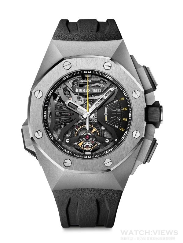 愛彼皇家橡樹概念Supersonnerie超問錶,型號26577TI.OO.D002CA.01,鈦金屬錶殼,時、分、雙音簧三問報時、陀飛輪、配備中央秒針的計時碼錶,經霧面打磨的黑色鏤空錶面,防炫光處理的藍寶石水晶玻璃鏡面,鈦金屬錶圈,黑色陶瓷旋入式錶冠,鈦金屬和黑色陶瓷按鈕以及鈦金屬按鈕保護裝置,防水20米,愛彼錶廠自製 2937 手動上鍊機芯,最低保證動力儲存 42 小時,黑色橡膠錶帶搭配鈦金屬AP字樣折疊扣。