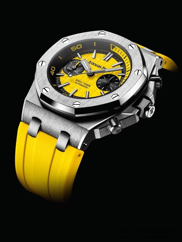 皇家橡樹離岸型潛水計時腕錶,不鏽鋼錶殼,錶徑42毫米,時、分、小秒針、計時碼錶、顯示潛水時間的旋轉內錶圈,黃色錶面鐫刻「Méga Tapisserie」超大型格紋裝飾、黑色計時盤、搭配白金螢光立體時標和黑色金質皇家橡樹指針(黄色分針)、黃色旋轉內錶圈搭配潛水刻度和黄色60至15分鐘區域,錶廠自製3124/3841自動上鍊機芯,最低保證動力儲存50小時,防炫光處理的藍寶石水晶玻璃鏡面和底蓋、黑色陶瓷旋入式錶冠和按鈕、防水300米,黃色橡膠錶帶。