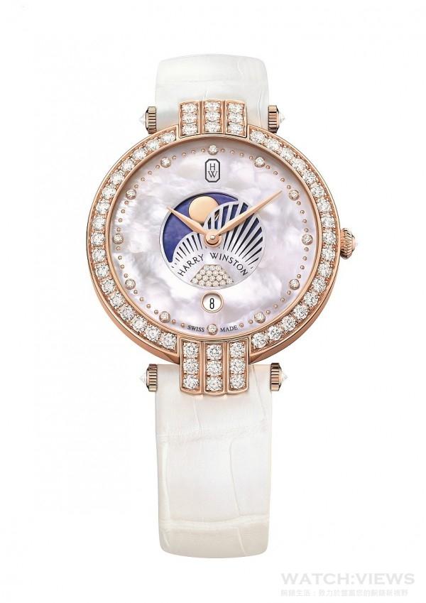 海瑞溫斯頓卓時Premier系列36毫米月相功能仕女腕錶,18K玫瑰金錶殼,直徑36毫米,錶殼鑲嵌57顆圓形明亮式切工鑽石(約2.32克拉),白色珍珠母貝面盤,圓形明亮式切工鑽石時標(約0.078克拉),金質圓拱型刻度,6點鐘位置鋪鑲圓形明亮式切工鑽石時標(約0.036克拉),白色鱷魚皮錶帶附18K玫瑰金材質針扣,鑲嵌17顆圓形明亮式切工鑽石(約0.15克拉)。
