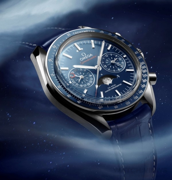 歐米茄的月相錶錶面宛如月球的縮影,黑色及白色的銳利對比,正如同NASA拍攝的月球照片般細膩及清晰,精準度高,每10年才需調校月相盤一次。