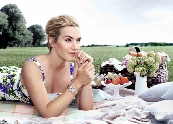 浪琴表全球代言人、奧斯卡影后凱特溫絲蕾配戴浪琴表新多情系列鑲鑽腕錶