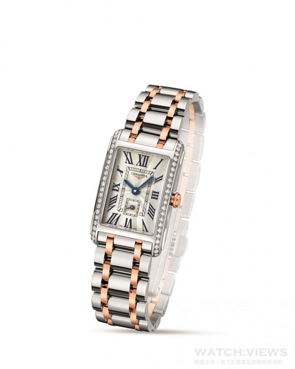 浪琴表新多情系列雙色金鑲鑽腕錶(L5.255.5.79.7) 錶徑:20.50 x 32.00毫米 機芯:L178 (ETA 980.153)石英機芯 小時、分鐘與6點鐘小秒針計盤 鑲鑽:46顆鑽石,總重0.386克拉, Top Wesselton VVS等級 玫瑰金錶冠 藍寶石水晶鏡面 防水深度3巴(30米)面盤:白色珍珠母貝,13個點鑽時標 指針:藍鋼指針或鍍銠指針 錶鏈/錶帶:不鏽鋼與玫瑰金雙色金錶帶搭載蝴蝶扣