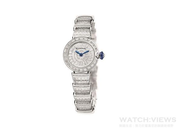BVLGARI LVCEA系列Piccola LVCEA鑽石腕錶,錶徑 23毫米,白K金錶殼鑲鑽,石英機芯,參考售價:約新台幣14,814,000元。