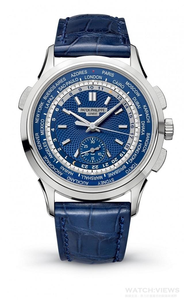 百達翡麗編號5930G世界時間計時碼錶,18K白金錶殼,錶徑39.5毫米,CH 28-520 HU自動上鍊機械機芯,動力儲能最少50小時、至多55小時,百達翡麗印記,導柱輪計時碼錶,縱向離合器,時分當地時間顯示、計時秒針、30分鐘計時器、24個時區顯示、日/夜顯示器,藍寶石水晶玻璃鏡面及後底蓋,啞光海軍藍色鱷魚皮錶帶搭配18K白金摺疊扣。